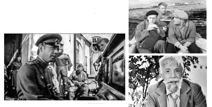 Кадры из фильмов с участием Олега Анофриева: «Друзья и годы», «Коллеги» и «Сказка о потерянном времени»