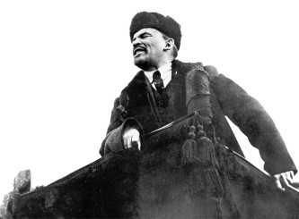 Vladimir Lenin makes a speech in Red Square on the first anniversary of the Bolshevik Revolution.